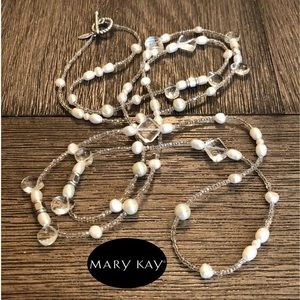 Mary Key Real Pearl & Crystal Bead Necklace Toogle